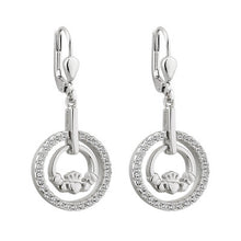 Load image into Gallery viewer, Sterling Silver Claddagh CZ Round Drop Earrings