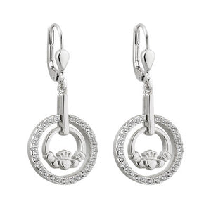 Sterling Silver Claddagh CZ Round Drop Earrings