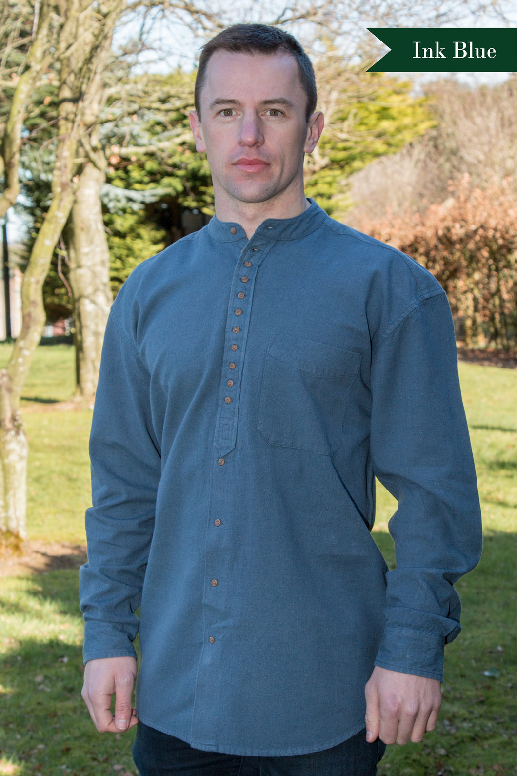 Irish Traditional Grandfather Shirt - Ink Blue