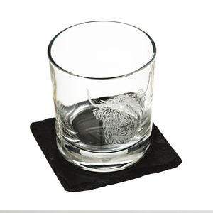 Highland Cow Glass Tumbler & Slate Coaster Set