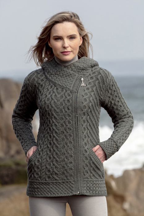 Kilkenny ladies lovat aran side zip cardigan hood