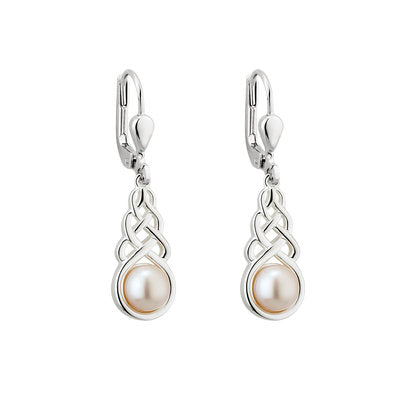 Sterling Silver Celtic Knot & Freshwater Pearl Earrings