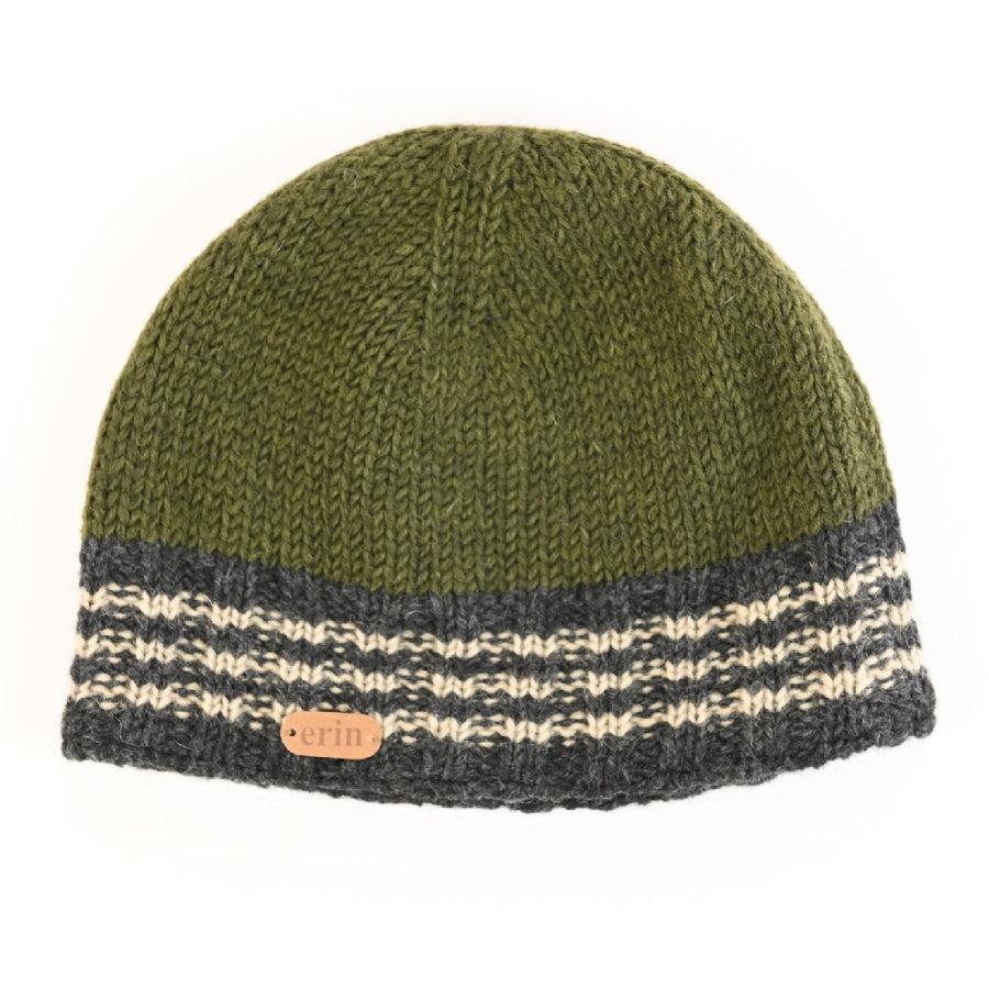 Ribbed Pull On Cap - Green