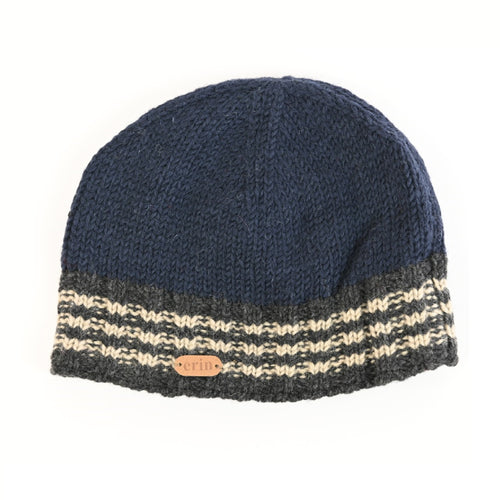 Ribbed Pull On Cap - Navy