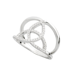 Sterling Silver Crystal Trinity Knot Ring