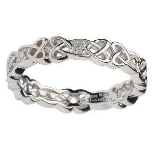 Sterling Silver Ladies Celtic Knot Band w/ Diamonds