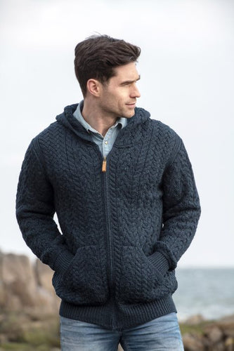 Merino Wool Aran Cable Zipper Cardigan With Hoodie