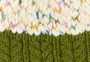 Uneven Wool Bobble Hat - Green