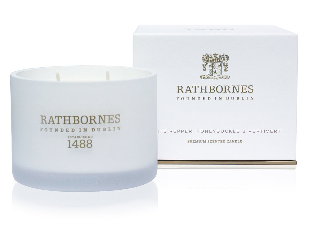 Rathbornes White Pepper, Honeysuckle & Vertivert Scented Candle