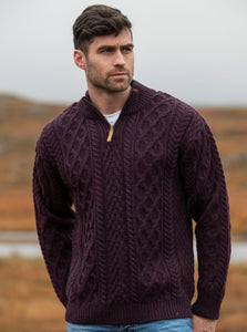 Donegal Half Zip Aran Merino Sweater