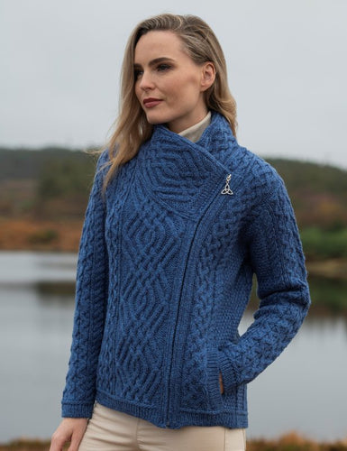 Shannon Aran Cable Side Zip Cardigan