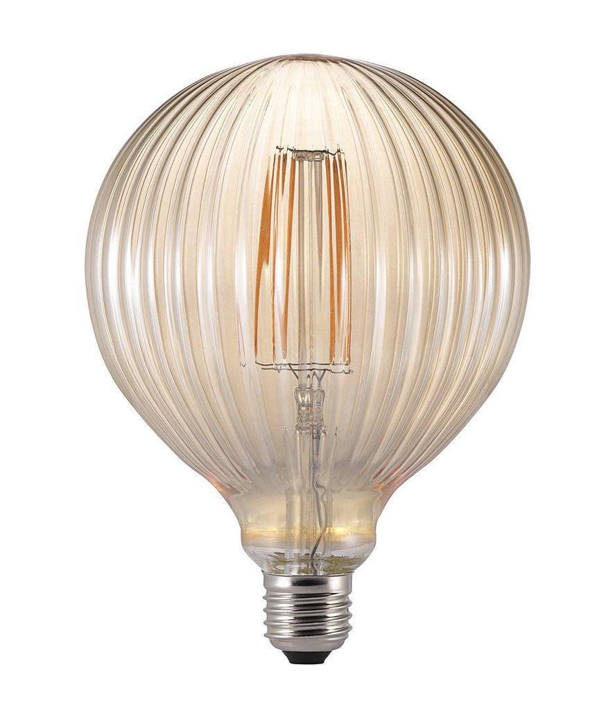 Ribbed Smoked Glass LED Filament Bulb Globe E27-DEVOTEDTO
