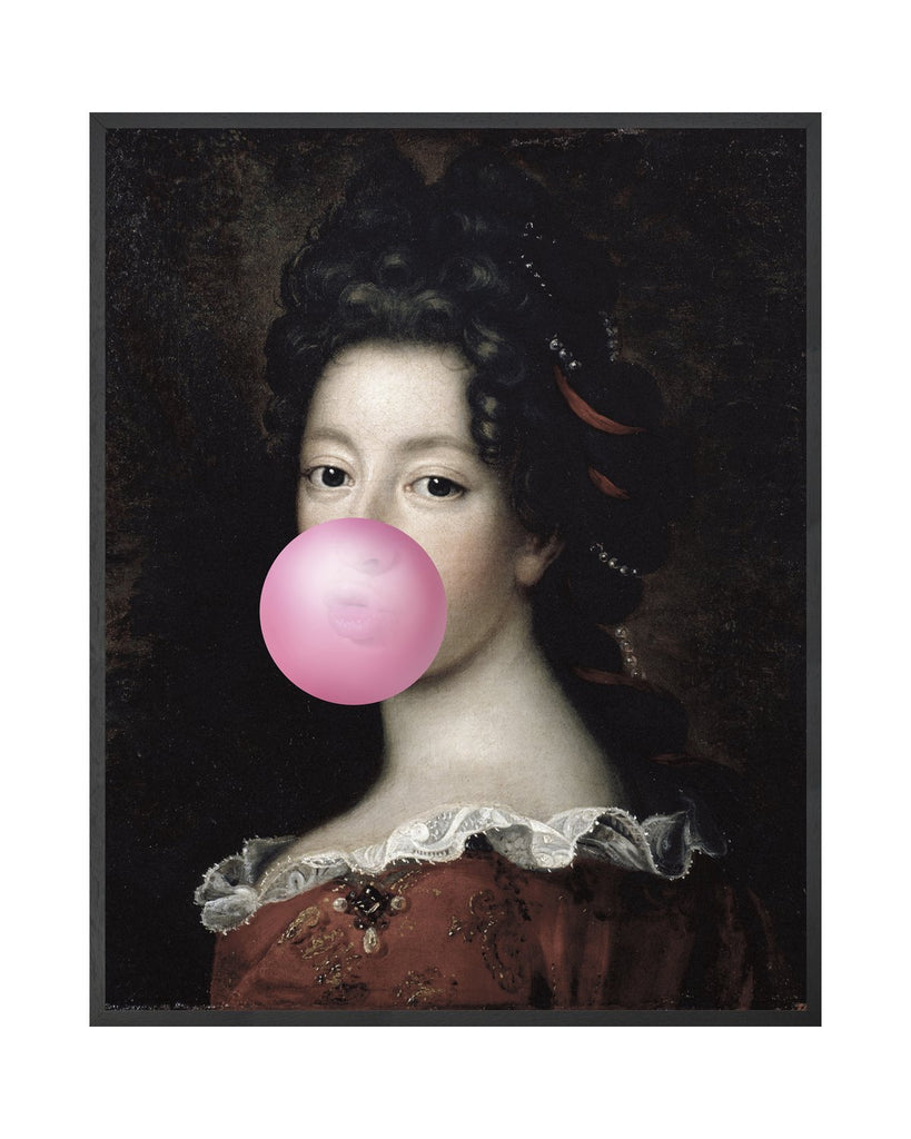 Bubblegum Portrait 1- Framed Printed Canvas-DEVOTEDTO