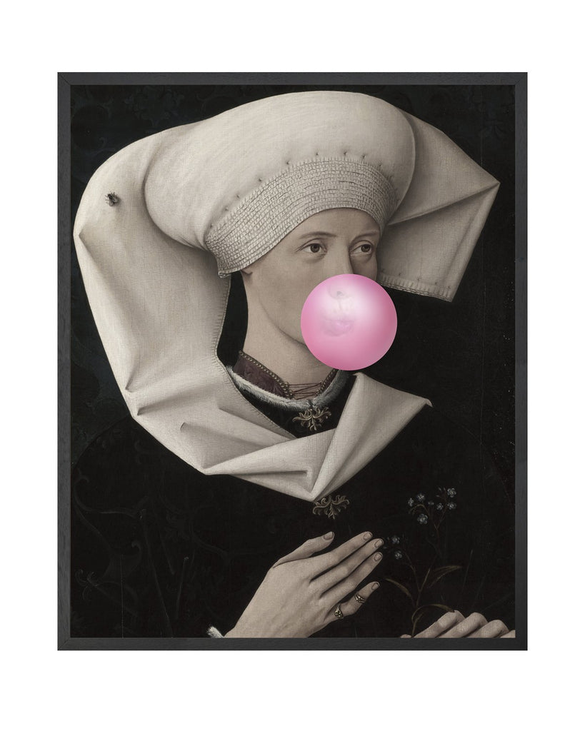 Bubblegum Portrait 2 - Framed Printed Canvas-DEVOTEDTO