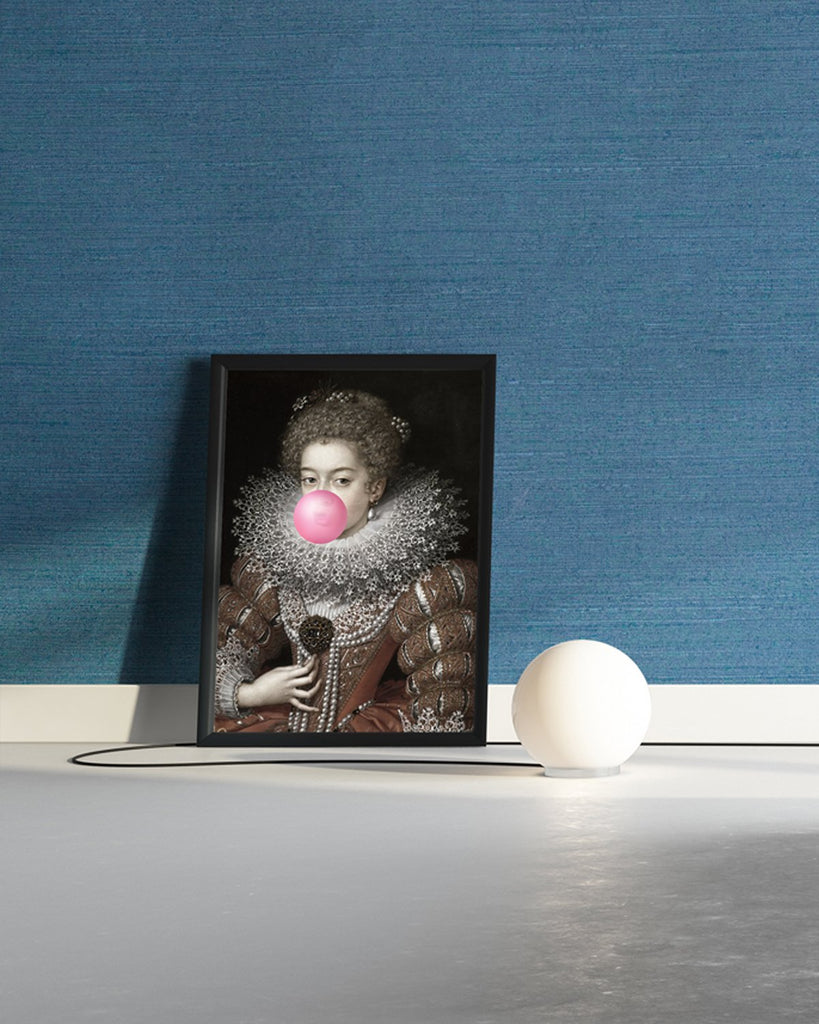 Bubblegum Portrait 3 - Framed Printed Canvas-DEVOTEDTO