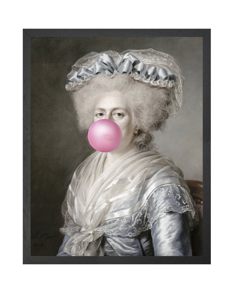 Bubblegum Portrait 4 - Framed Printed Canvas-DEVOTEDTO
