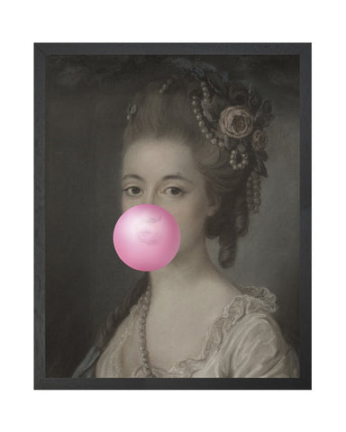 Bubblegum Portrait 5 - Framed Printed Canvas-DEVOTEDTO