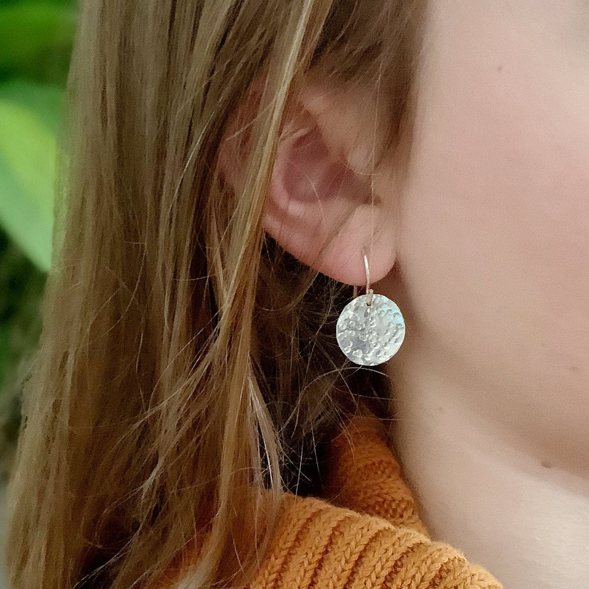 Full Moon Hammered Sterling Silver Disc Drop Earrings