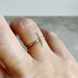 Hand Hammered Cross Ring in Sterling Silver