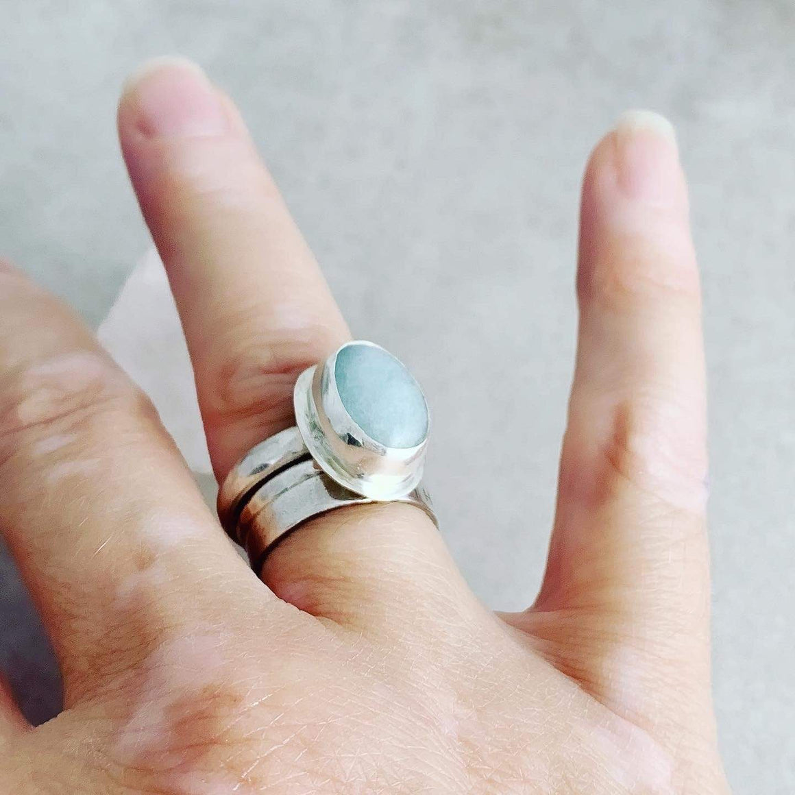 DLK Designs Aquamarine Oval Ring