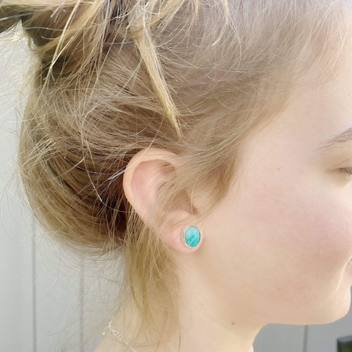DLK Designs Kingman Turquoise Simple Stud Handmade Earrings