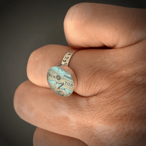DLK Designs Latitude Longitude Vintage Map Ring