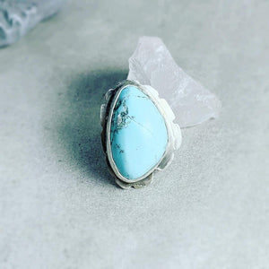DLK Designs Robins Egg Blue Natural Morenci Turquoise Handmade Ring