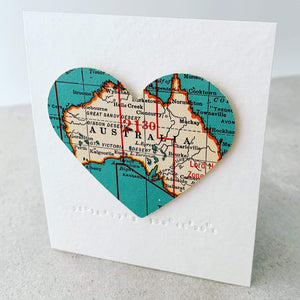 DLK Designs Teeny Tiny Vintage Map Heart Wall Decor - Custom and Made To Order