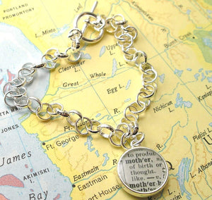 dlkdesigns Bracelet Two Sided Charm Vintage Map Toggle Sterling Silver Charm Bracelet. You Select the Journey's.