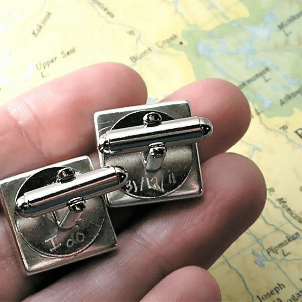 dlkdesigns Cufflinks Groom Gift from Bride Engraved Map Cuff Links