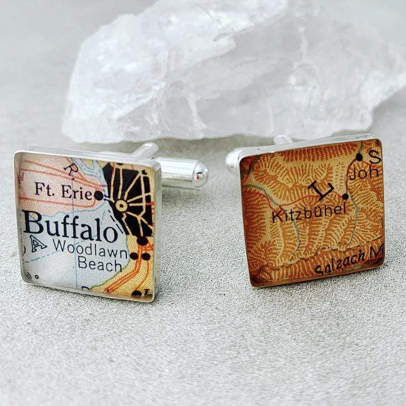 dlkdesigns Cufflinks Map Cufflinks | Square Cufflinks