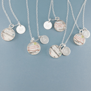 dlkdesigns Necklace Custom Map Necklace with Initial Charm