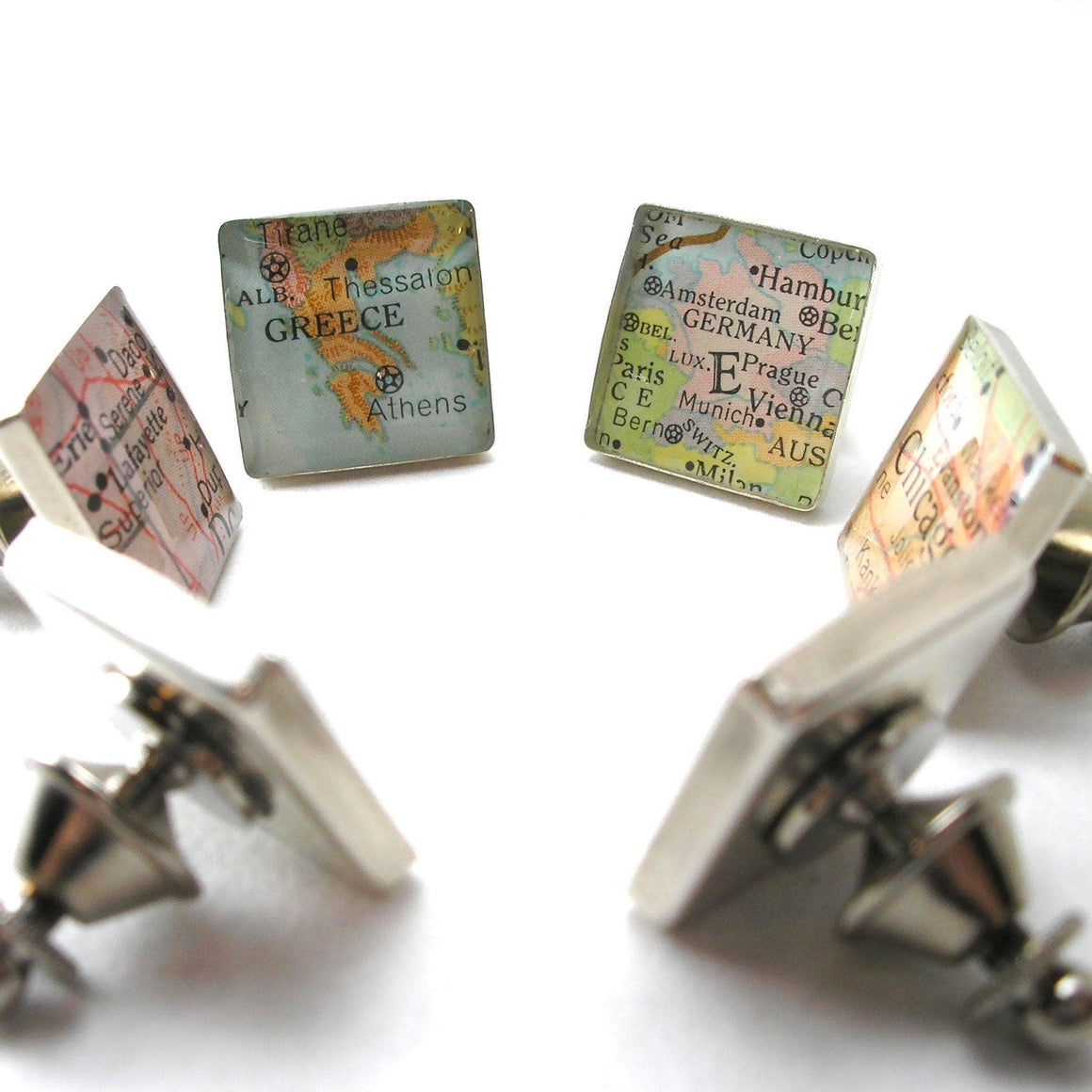 dlkdesigns Tie Clips Map Tie Tack or Lapel Pin - Square