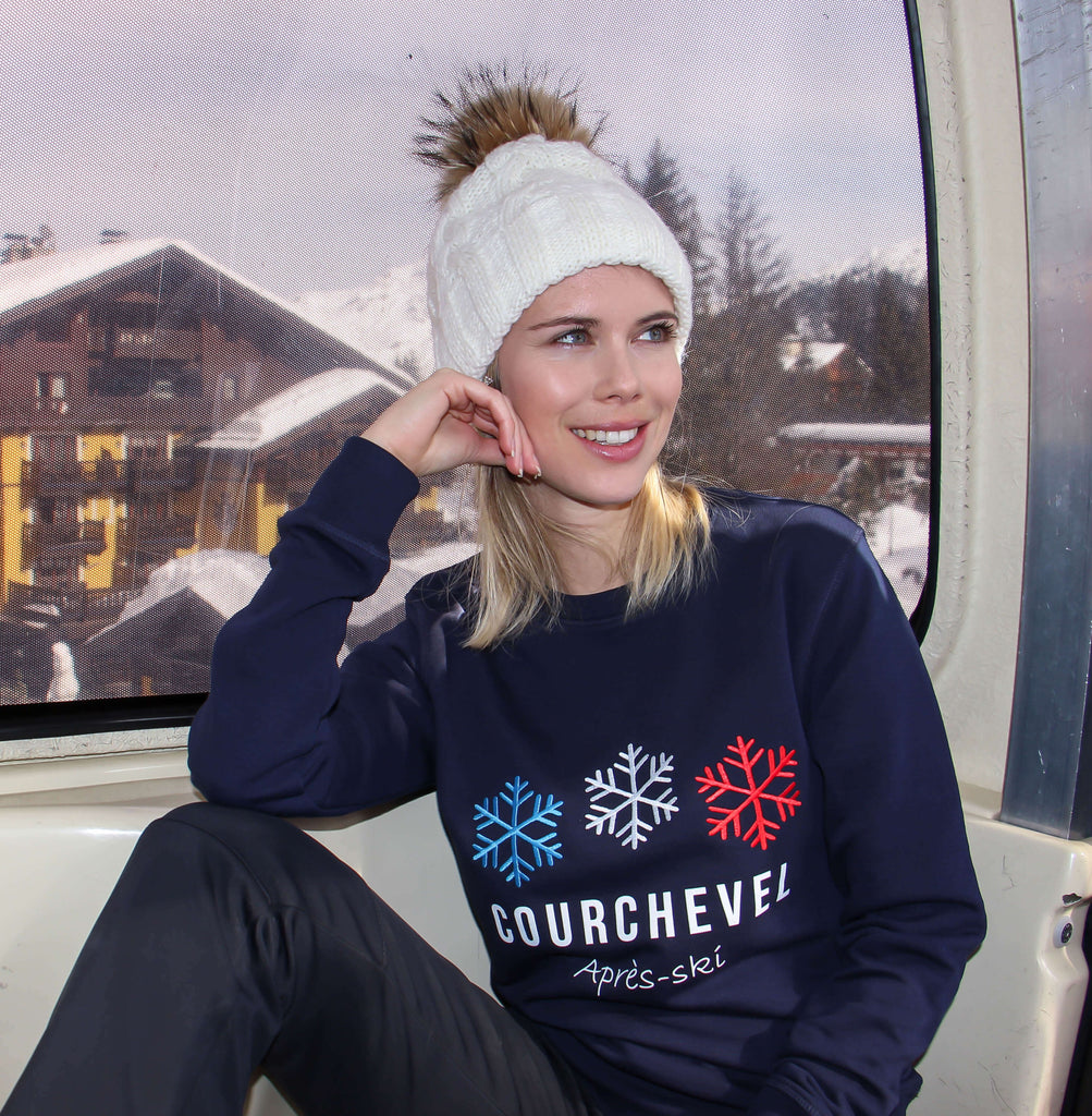 sweatshirt Courchevel - pull courchevel - flocon brodé - sweat brodé - courchevel savoie france- kaipih x courchevel - broderie française - coton bio - mode éthique - made in france