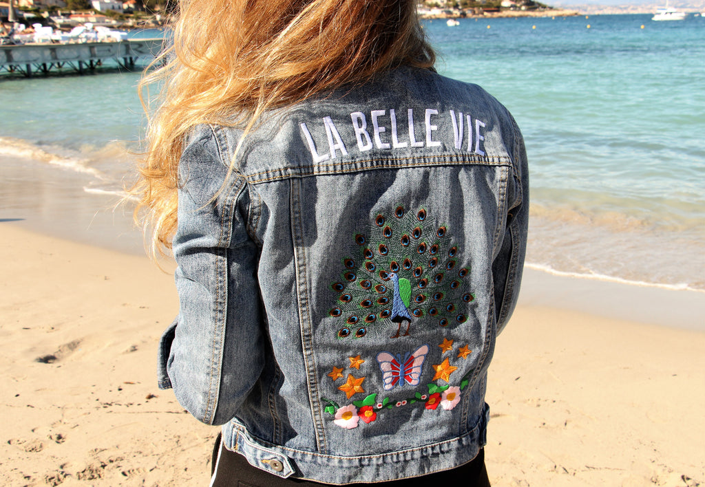 veste en jean brodée - la belle vie - love songs collection - kaipih - broderie française - mode éthique - made in france