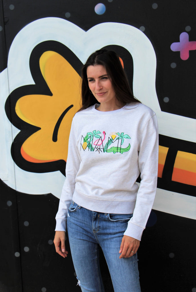 Miami sweat - sweatshirt brodé - pull brodé - feel good collection - kaipih - coton bio - broderie française - marque responsable