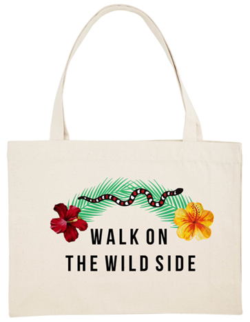 Cabas brodé - sac de plage - shopping bag - walk on the wild side - kaipih - broderie française - coton bio - mode éthique - marque responsable - made in france