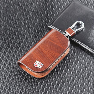 ( 65% OFF ) Car Logo Leather Wood Texture Car Key Case