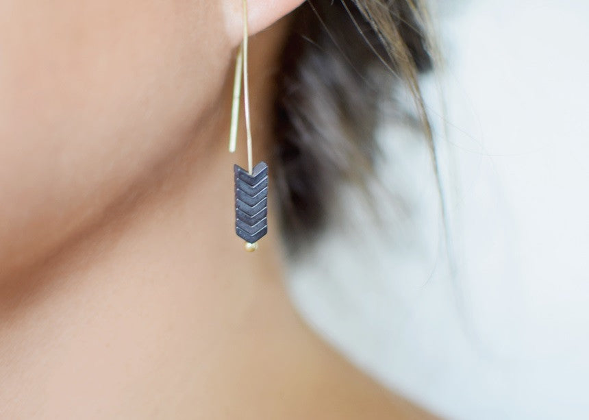 Arrow Stone Drop Earrings - 5 Colors!