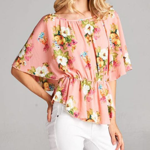 Floral Peplum Top - 2 Colors!