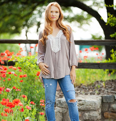 Gauzy Crochet Neck Tunic Top!