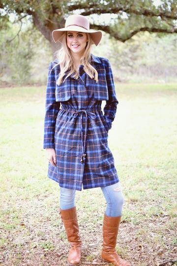 Plaid Trench Coat