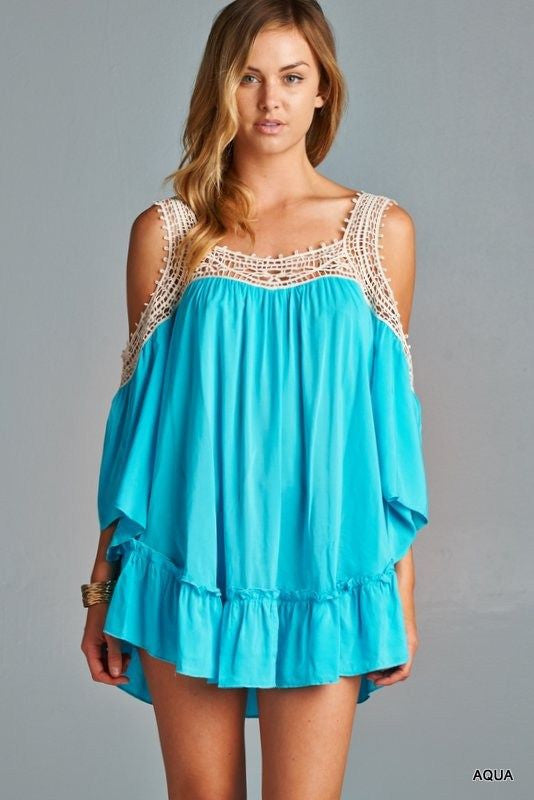 AVA CROCHET OPEN-SHOULDER TUNIC DRESS