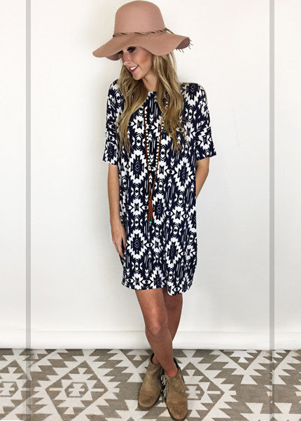 Aztec Print Pocket Dress