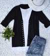 3/4 Sleeve Snap Cardigan