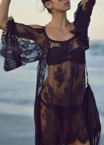 Open Shoulder Lace Swim Suite Cover Up!