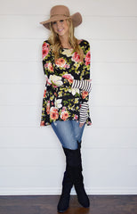 Floral & Stripes Thumbhole Tunic