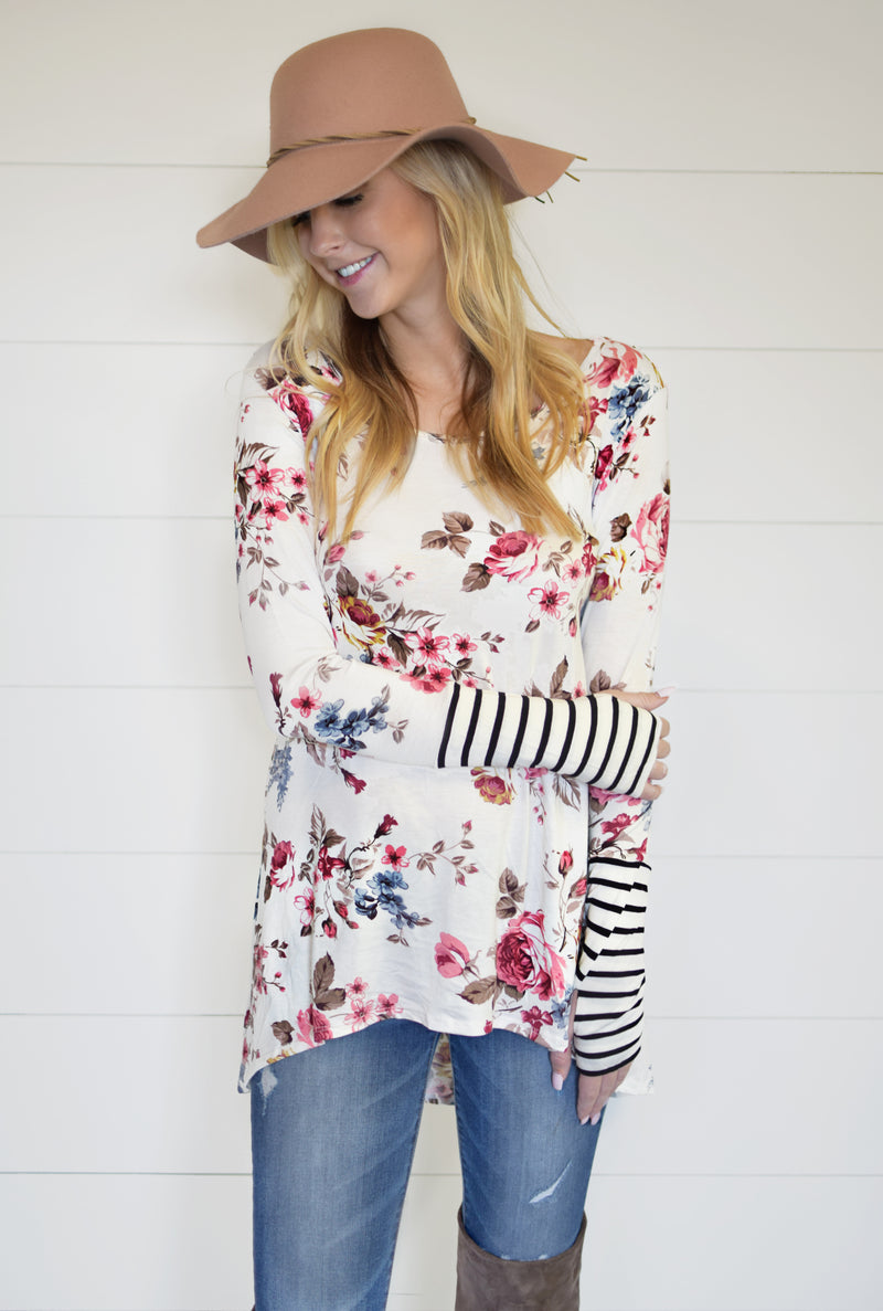Carly Floral & Stripe Thumbhole Tunic