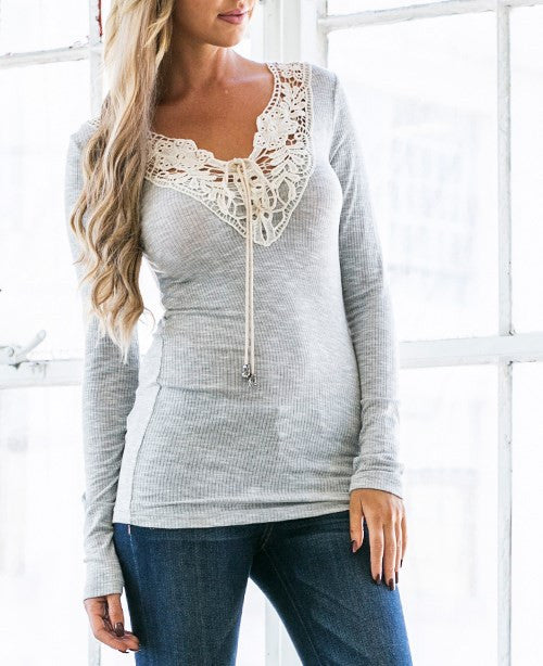 Crochet Neck Ribbed Top!