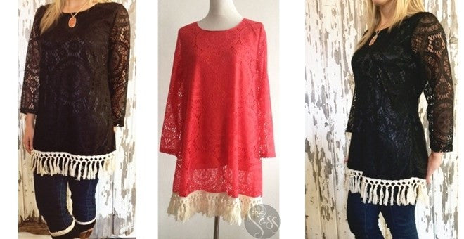 Tassel Bottom Lace Tunic
